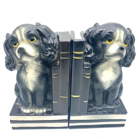 Vintage Spaniel Puppy Dog Bookends Japan Black